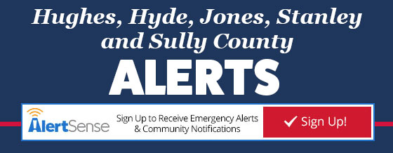 Hughes, Hyde, Jones, Stanley and Sully County Alerts